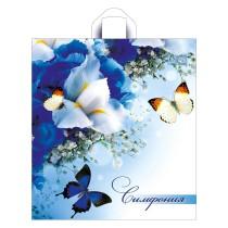 0046 Пакет петл. руч. 38х42+6=37 Синие бабочки Тико (50/300)