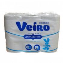 0098 Туалетная бумага двухслойная Веиро домашняя БОЛЬШАЯ 12 рулонов (1/4) (7808)