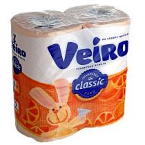 0296 Туалетная бумага двухслойная Веиро Классик двухсл. 4 рул абрикос (1/12) (7777)
